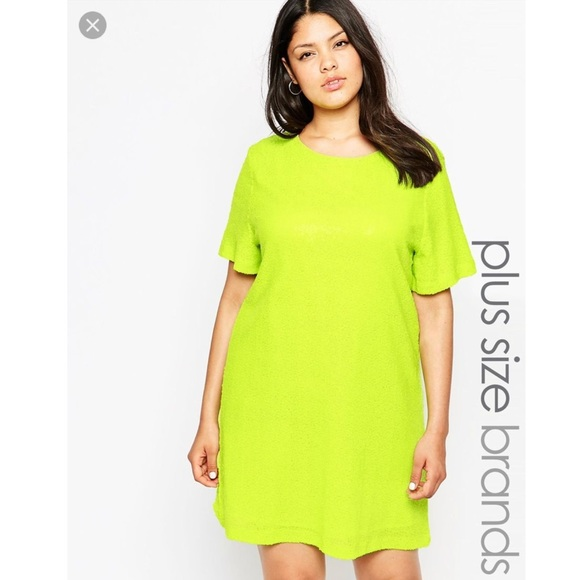 Worn Once Asos Curve Truly You Neon Green Dress